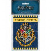 8 stk Inbjudningskort och Kuvert - Harry Potter