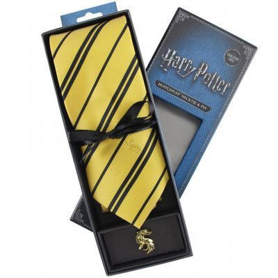 Harry Potter - Hufflepuff Tie & Metal Pin